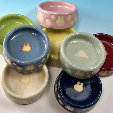 【Special orders】うさぎ水玉模様のうさぎ様用食器ミニ(選べるカラー12色・うさぎ印)