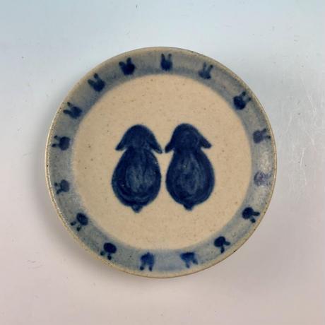 【S061】豆皿(呉須手描き・うさぎ印)