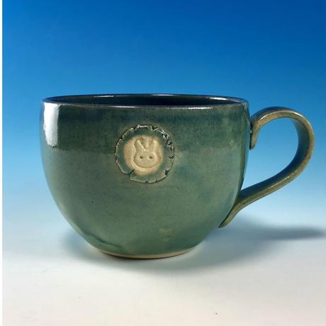 【M220】海の色のマグカップ大(エンブレム付き・うさぎ印)