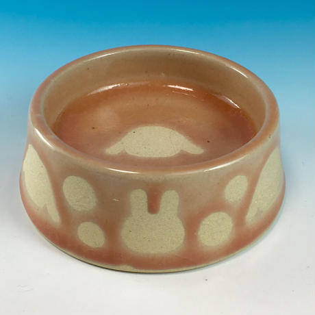 【R181】うさぎ水玉模様のうさぎ様用食器・Sサイズ(桜花ピンク・ロップ・うさぎ印)