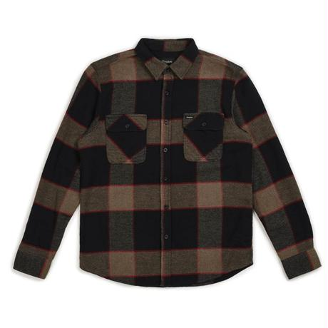【BRIXTON】bowery L/S flannel-heather grey/char-coal