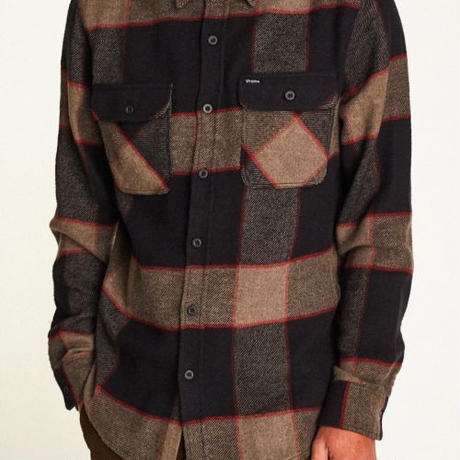 【BRIXTON】bowery L/S flannel-heather grey/char-coal