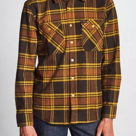 【BRIXTON】bowery L/S  flannel-brown/gold