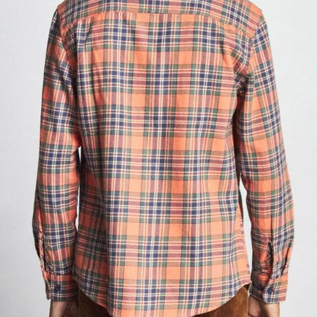 【BRIXTON】bowery L/S flannel-salmon/navy