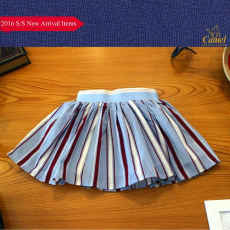 変則ストライプ柄スカート 韓国子供服