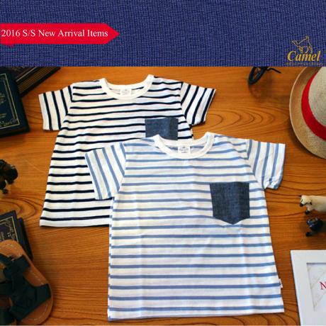 ボーダー柄ワンポイントポッケ半袖Tシャツ 韓国子供服