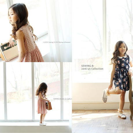 総柄ノースリーブワンピース 韓国子供服