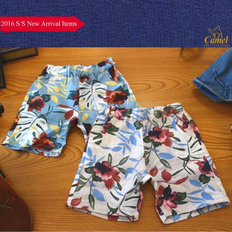 麻地風花柄ショートパンツ 韓国子供服