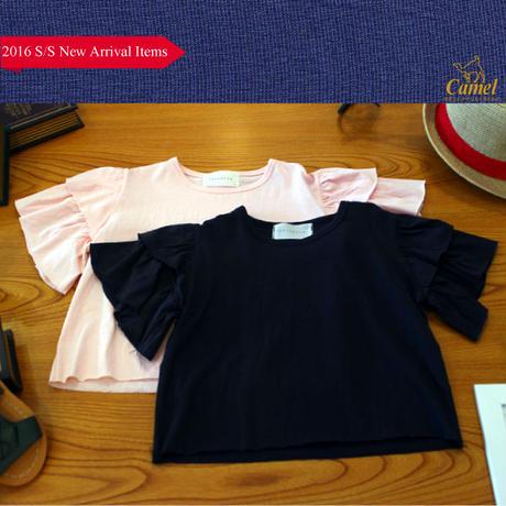 半袖フリルカットオフブラウス 韓国子供服