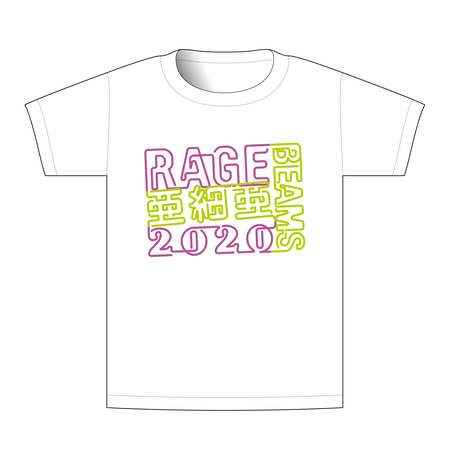【BEAMSデザイン】RAGE ASIA 2020 オフィシャルTシャツ  NEON WHITE