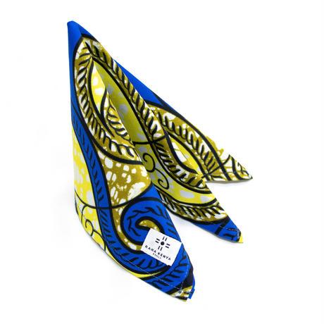 アフリカ布ポケットチーフ【Blue × Yellow】