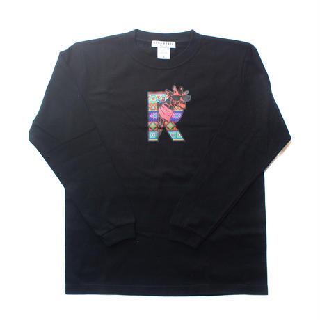ケニアの子ども達と製作!キリンイラスト塗り絵/ロングスリーブTシャツ・Black【Twiga / キリン】