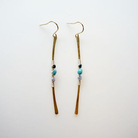 Turquoise line earring