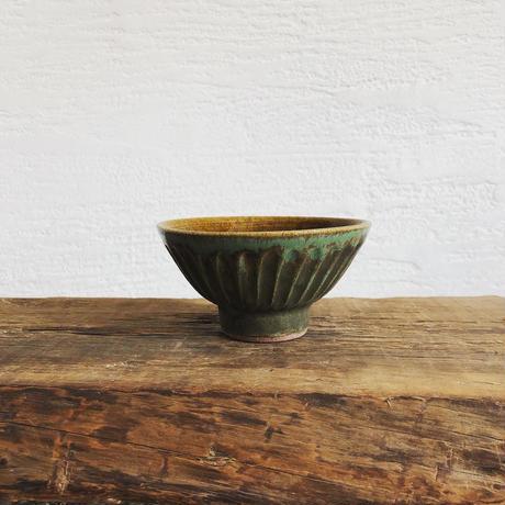 飴 × 緑釉 鎬飯碗(中)