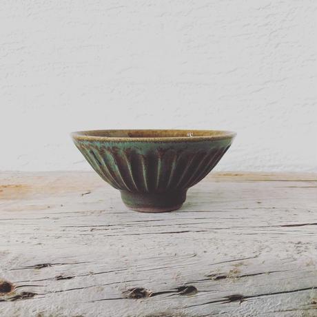 飴 × 緑釉 鎬飯碗(大)