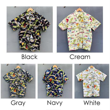 男女兼用アロハシャツ/ヨット/White