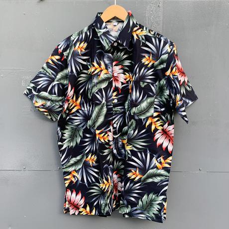 男女兼用アロハシャツ/ヘリコニア/Black