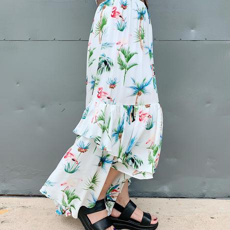 ヘムラインスカート フラミンゴ柄