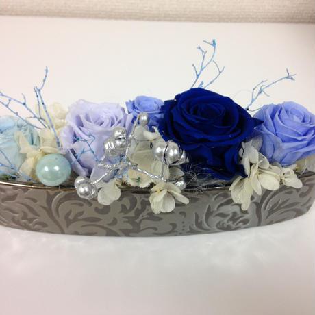 プリザーブドフラワー 青色バラ P2008