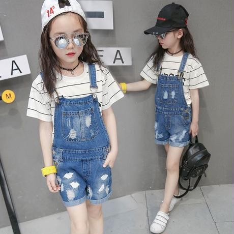 韓国子供服キッズデニムクラッシュサロペット