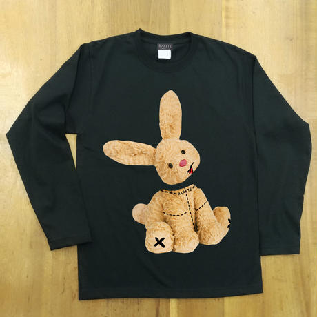 RARETE (ラルテ)  ウサギ も 首取れた! 長袖Tシャツ ブラック