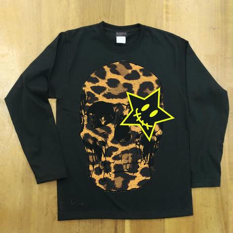 RARETE (ラルテ) ヒョウ柄 ドクロ スカル Tシャツ ブラック  長袖Tシャツ