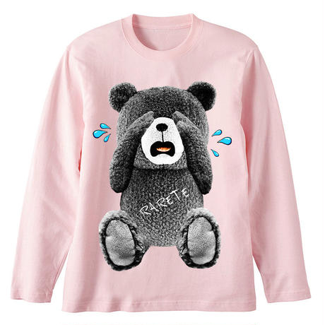 RARETE (ラルテ) 泣いちゃった! 【グレイ】テディベア  ライトピンク  長袖Tシャツ