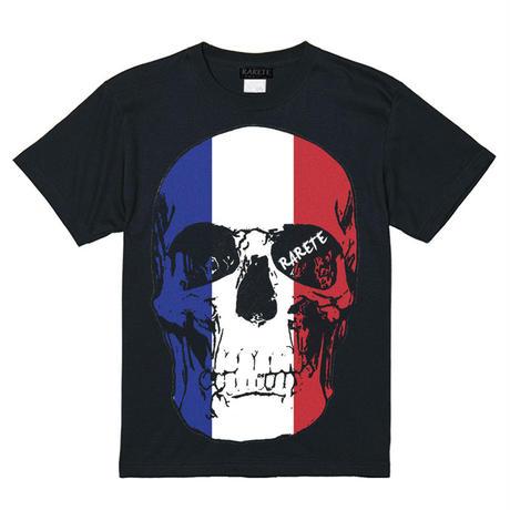 RARETE (ラルテ)   ドクロ スカル フランス国旗   Tシャツ ブラック