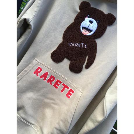 RARETE (ラルテ)  テディベア あっかんベー!【茶色】 モコモコ刺繍  パーカー サンドカーキ   (裏パイル)