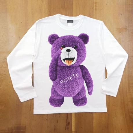 RARETE (ラルテ) テディベア あっかんベー!【紫色】ホワイト  長袖Tシャツ