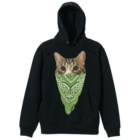 RARETE (ラルテ)  cat バンダナ パーカー ブラック