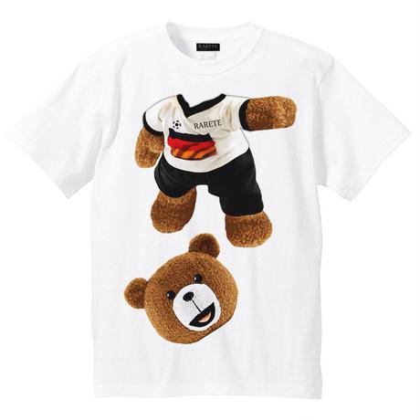 RARETE (ラルテ)   テディベア サッカー (茶色)  Tシャツ ホワイト