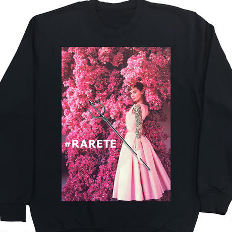 RARETE (ラルテ)   Hepburn pink flower  スエット   ブラック  星柄 star(裏パイル)