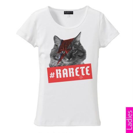 RARETE (ラルテ)   猫 デビットボウイ イナズマ  Tシャツ  ホワイト  星柄 star (レディース)