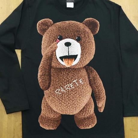 RARETE (ラルテ) テディベア あっかんベー!【茶色】ブラック  長袖Tシャツ