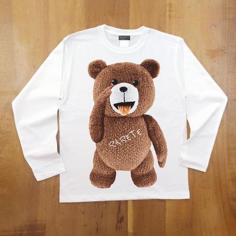 RARETE (ラルテ) テディベア あっかんベー!【茶色】ホワイト  長袖Tシャツ