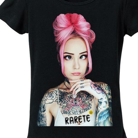 RARETE (ラルテ)   girl Eye Tatoo  Tシャツ ブラック  星柄 star (レディース)