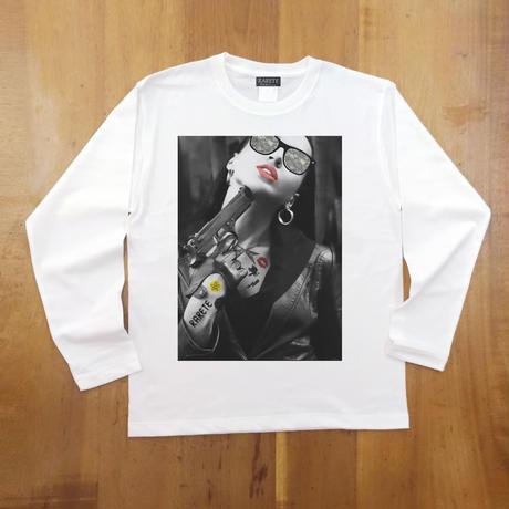 RARETE (ラルテ)  GIRL 迷彩 Tatoo 拳銃 長袖Tシャツ ホワイト
