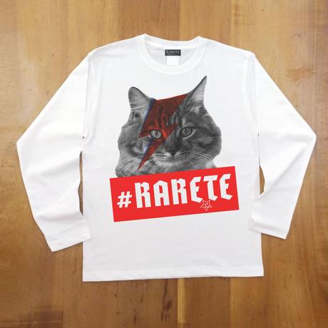 RARETE (ラルテ)  cat 猫 デビットボーイ   ホワイト  長袖Tシャツ