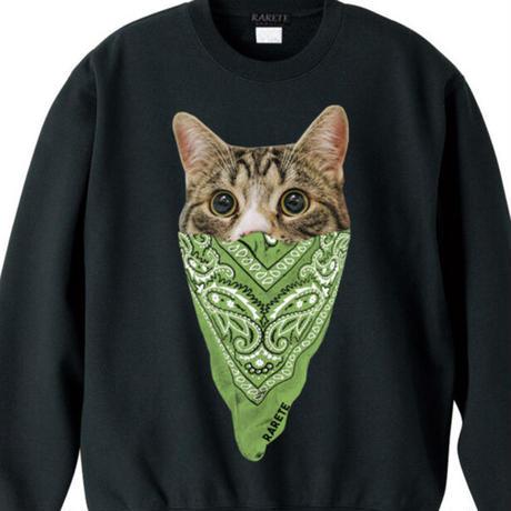 RARETE (ラルテ)  cat バンダナ トレーナー ブラック
