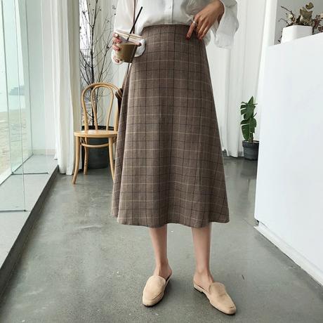 グレンチェックロングスカート