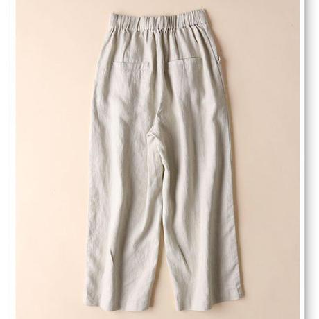 春 新作 9分丈パンツ ワイドパンツ ガウチョパンツ 無地 レディース ゆったり 綿麻 ポケット付き 2色