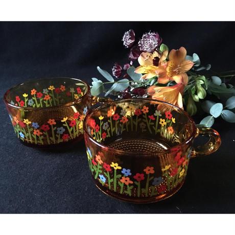 昭和レトロ アンバーガラス スープカップ
