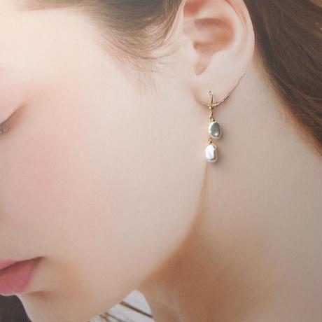 14kgf淡水真珠ふたごの星ピアス