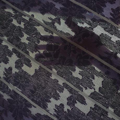 パープル花柄ジャカードボーダー  SR