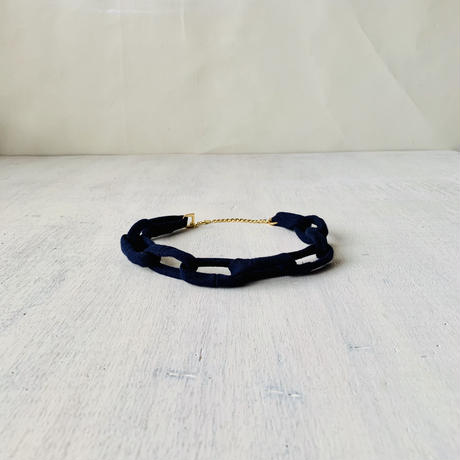 Chain Necklace -navy blue-