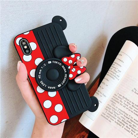 創意 ドット柄 カメラ形 スマホケース 保護用iphoneケース ストラップ付き
