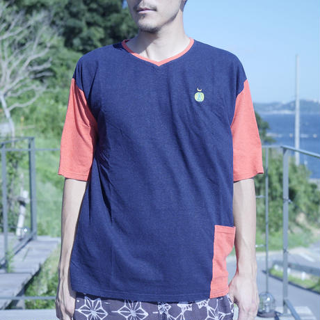 TEPPO T-shirts with Pocket NAVY&SUNSET RED /Hemp