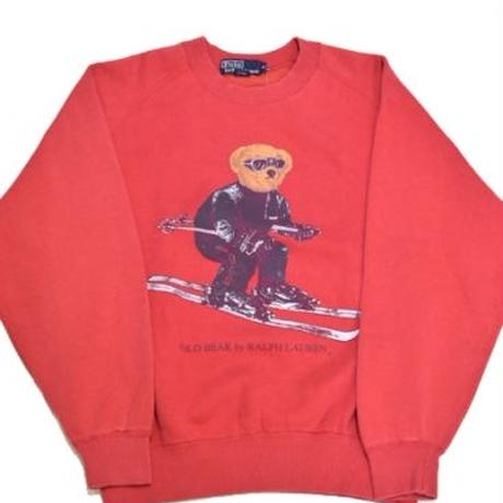 90s POLO BEAR CREW NECK SWEAT SHIRT (SKI/RED)