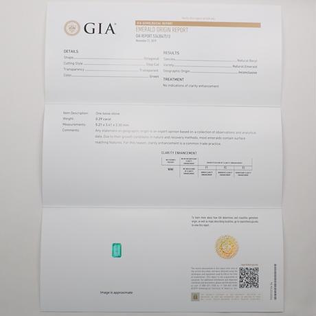 【11/5更新】ノンオイルエメラルド 0.29ctルース GIA付